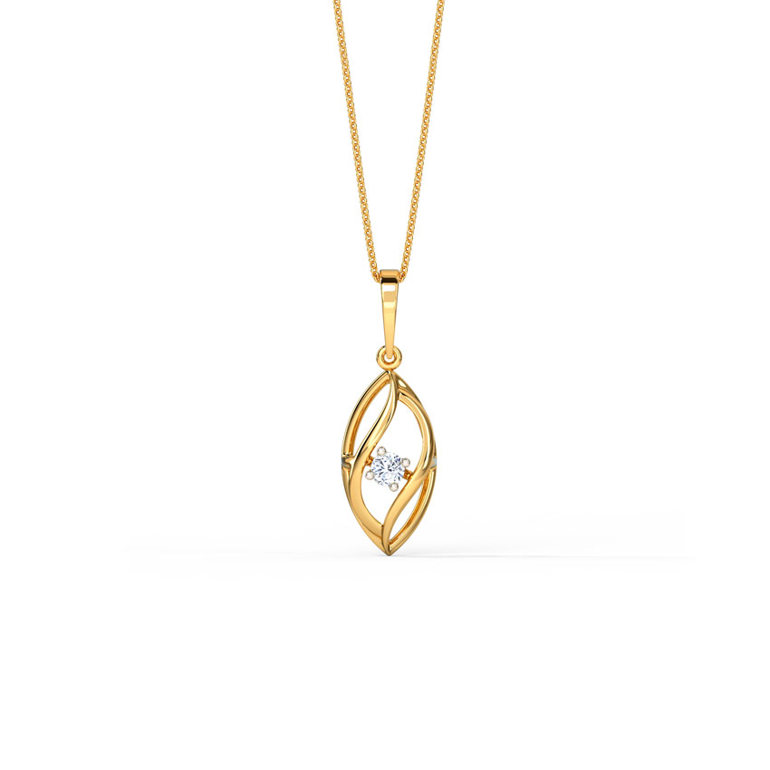 Diamond Pendants 14 Karat Yellow Gold Delicate Waves Diamond Pendant