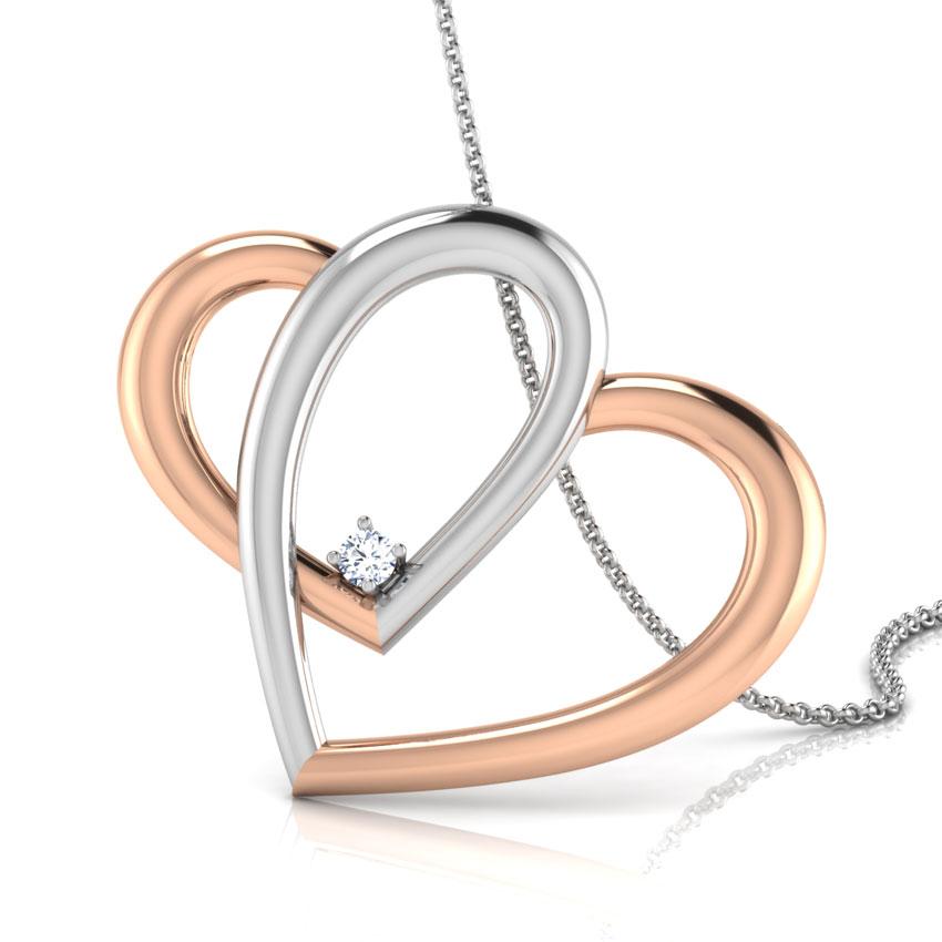 Diamond Pendants 14 Karat White Gold Intertwined Heart Diamond Pendant