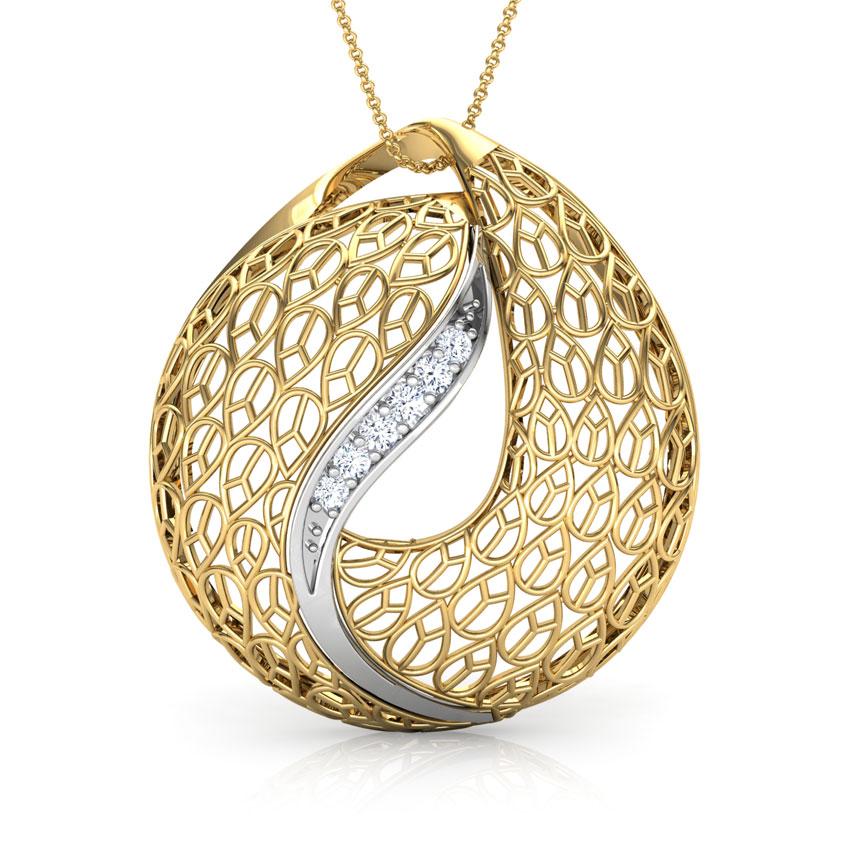 Diamond Pendants 18 Karat Two Tone Gold Lucia Trellis Diamond Pendant