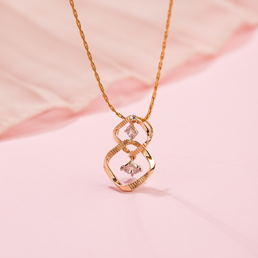 Diamond Pendants 14 Karat Yellow Gold Twine Diamond Miracle Plate Pendant
