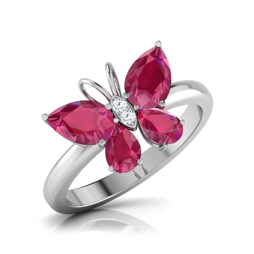 Diamond,Gemstone Rings 14 Karat White Gold Butterfly Ruby Diamond Ring