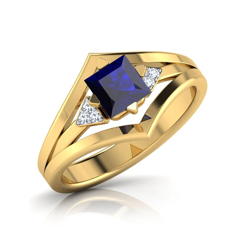 Diamond,Gemstone Rings 18 Karat Yellow Gold Princess Sapphire Diamond Ring