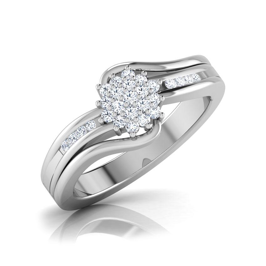 Diamond Rings 18 Karat White Gold Artistic Floral Diamond Ring