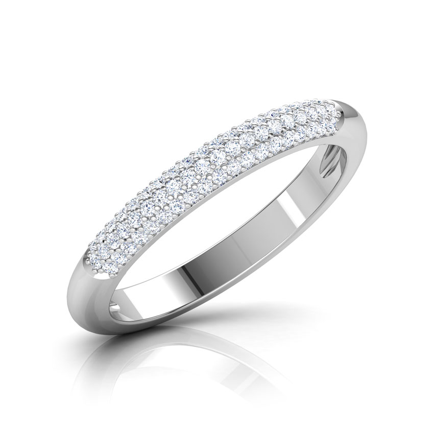 Diamond Rings 18 Karat White Gold Cluster Finish Diamond Band