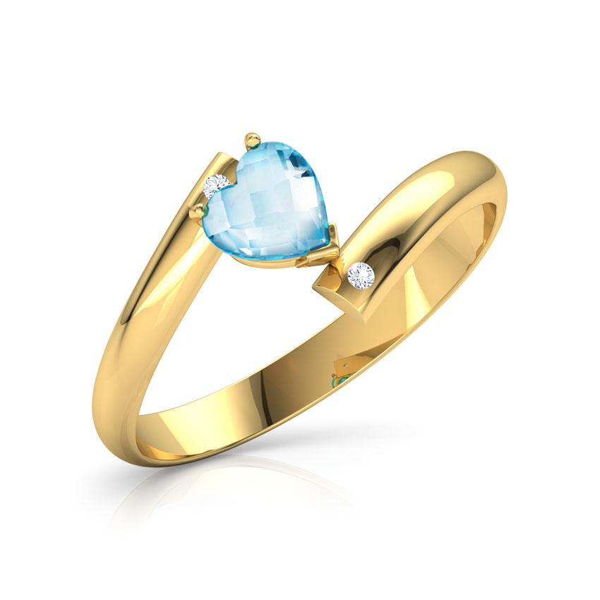 Diamond,Gemstone Rings 14 Karat Yellow Gold Heart Blue Topaz Diamond Ring