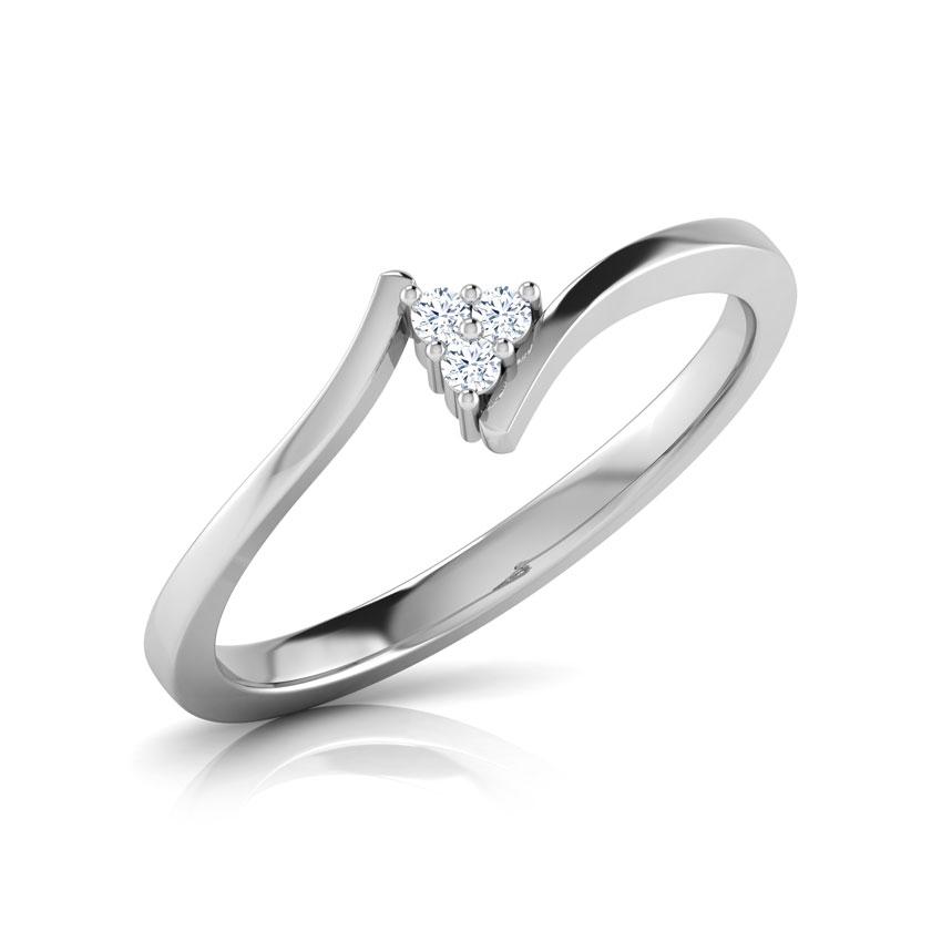 Diamond Rings 14 Karat White Gold Triad Crossover Diamond Ring