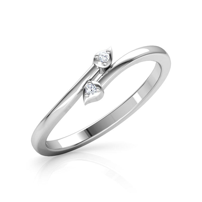 Diamond Rings 18 Karat White Gold Duo Leaf Diamond Ring