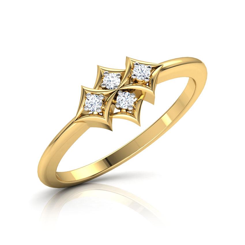 Diamond Rings 14 Karat Yellow Gold Cluster of Squares Diamond Ring
