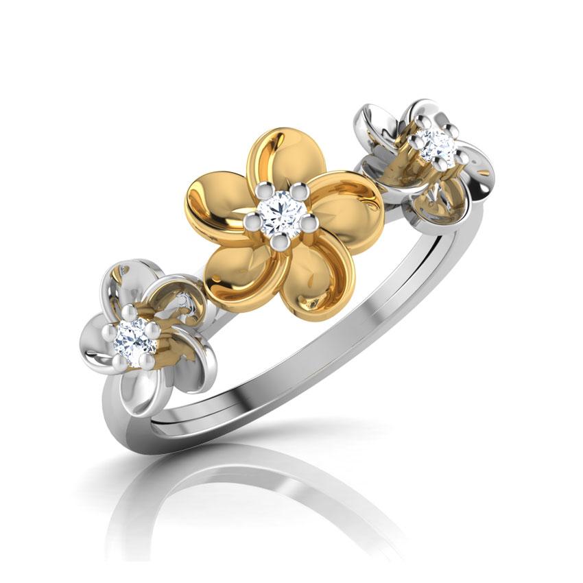 Diamond Rings 18 Karat Two Tone Gold Floral Halo Diamond Ring