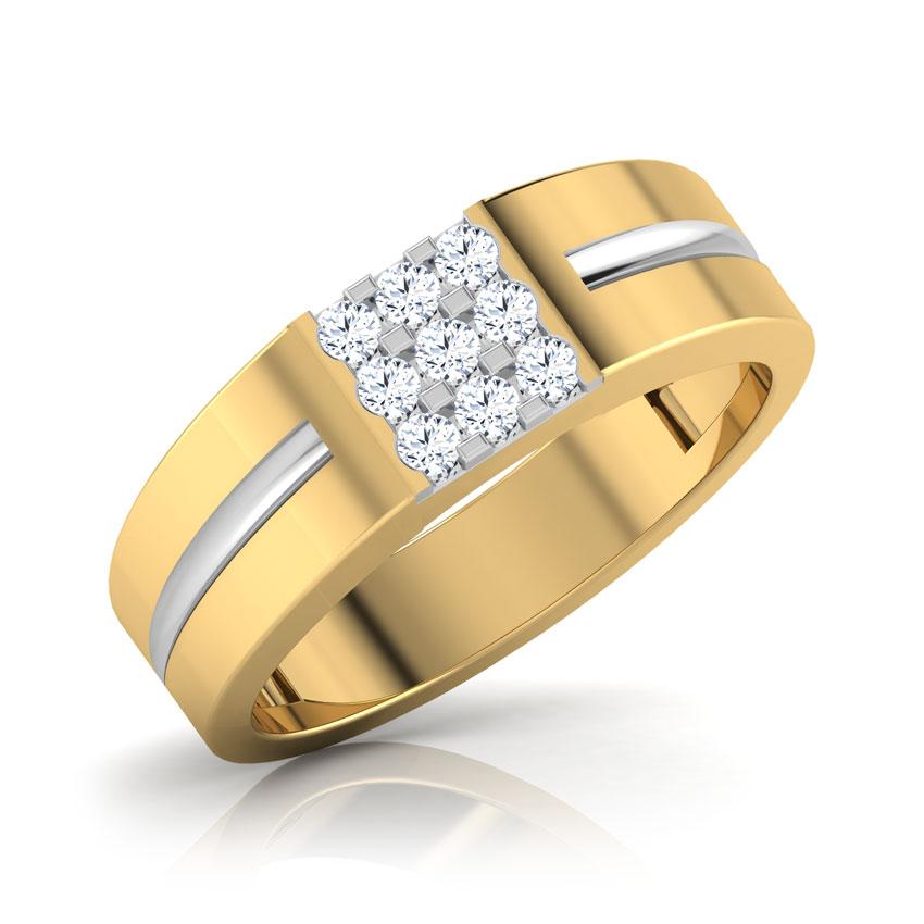 Diamond Rings 18 Karat Yellow Gold Euros Diamond Ring for Men