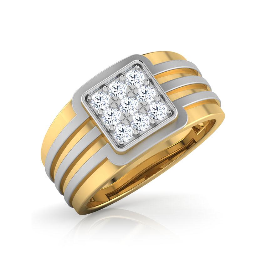 Diamond Rings 18 Karat Yellow Gold Maceo Diamond Ring for Men