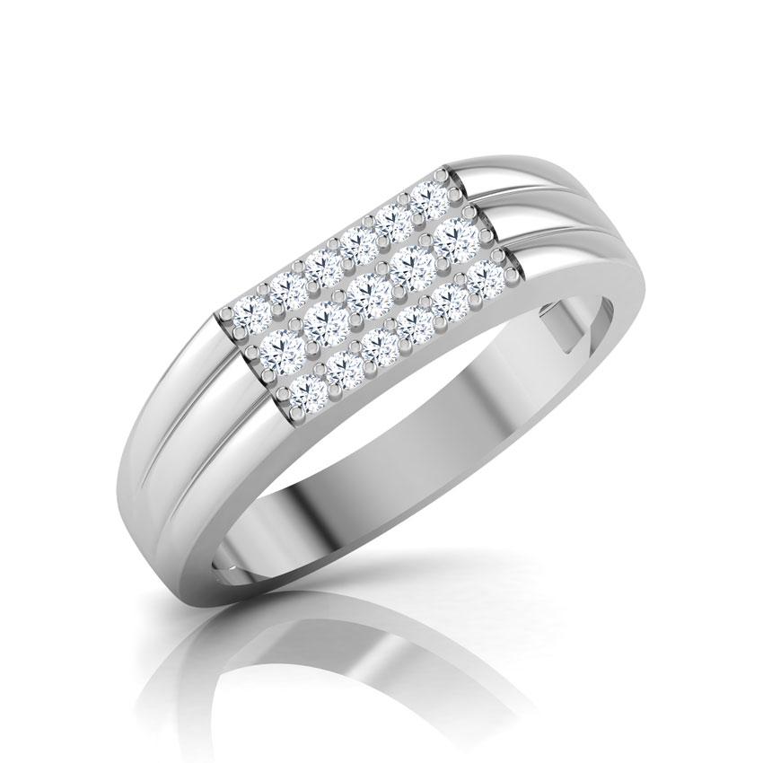 Diamond Rings 14 Karat White Gold Valor Diamond Ring for Men