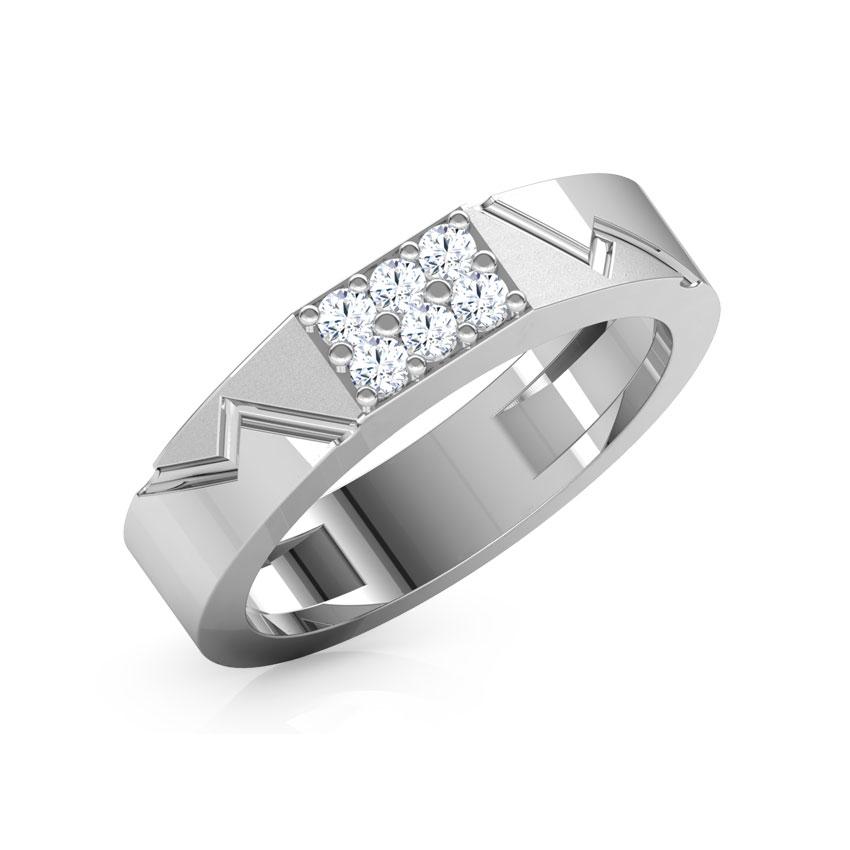 Diamond Rings 18 Karat White Gold Allvyn Diamond Ring for Men