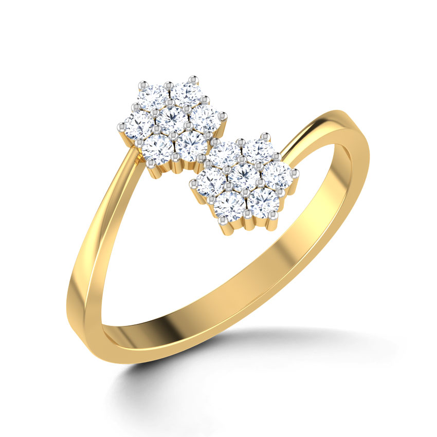 Diamond Rings 18 Karat Yellow Gold Floral Duo Diamond Ring