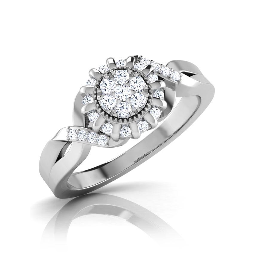 Diamond Rings 18 Karat White Gold Swish Ray Diamond Ring