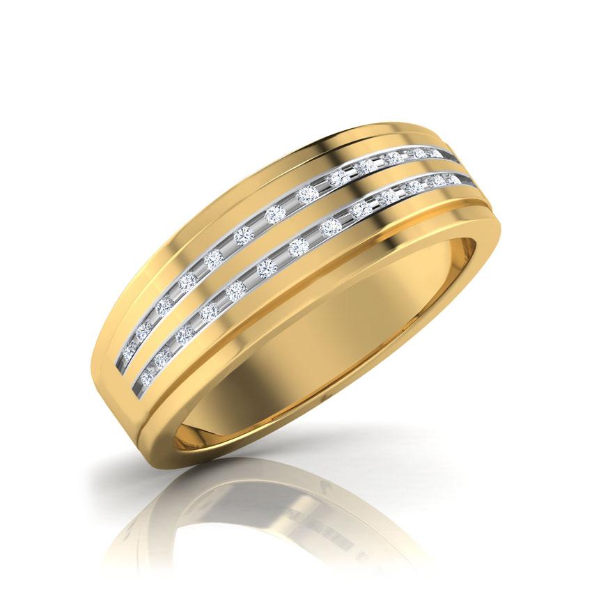 Diamond Rings 14 Karat Yellow Gold Derreck Diamond Ring For Men