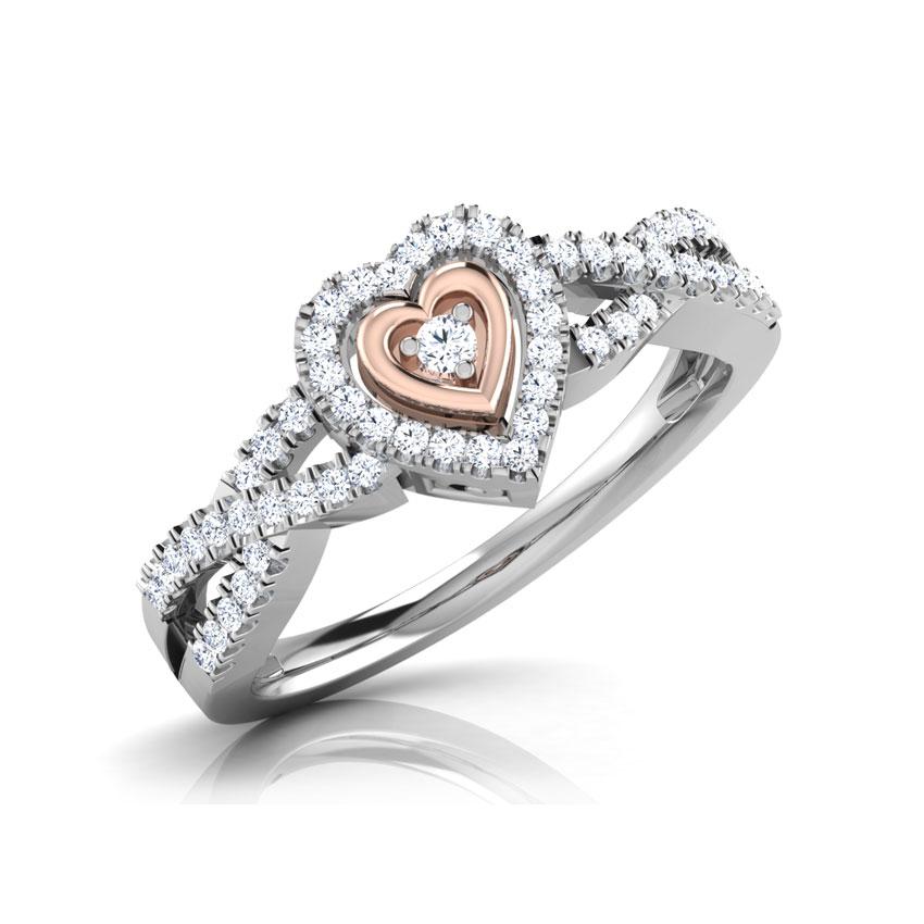 Diamond Rings 18 Karat Two Tone Gold Dual Tone Heart Diamond Ring