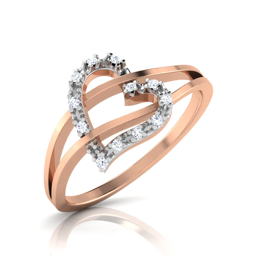 Diamond Rings 18 Karat Rose Gold Kyla Heart Diamond Ring