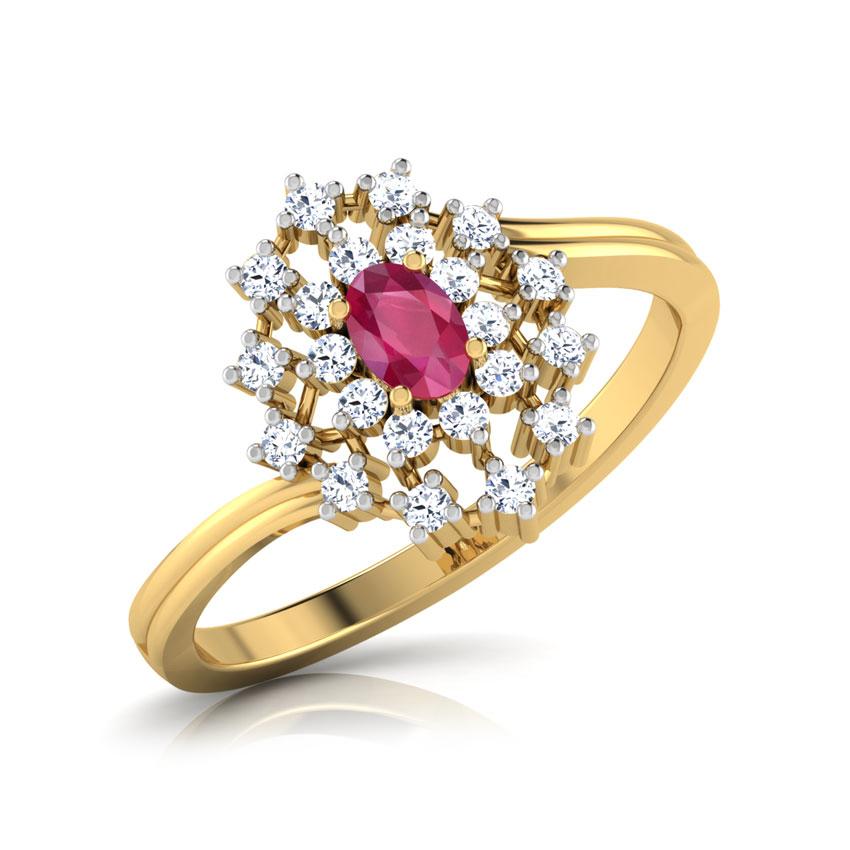 Diamond,Gemstone Rings 18 Karat Yellow Gold Kapittha Oval Ruby Diamond Ring