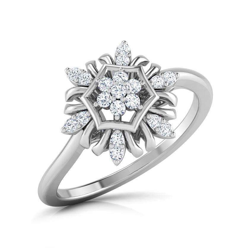 Diamond Rings 18 Karat White Gold Floral Festive Diamond Ring