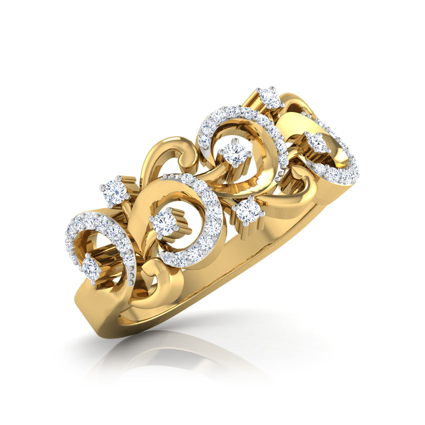 Diamond Rings 18 Karat Yellow Gold Wavy Diamond Band