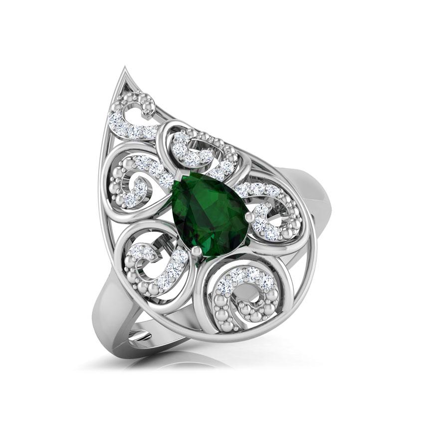 Diamond,Gemstone Rings 14 Karat White Gold Lahari Paisley Diamond Ring