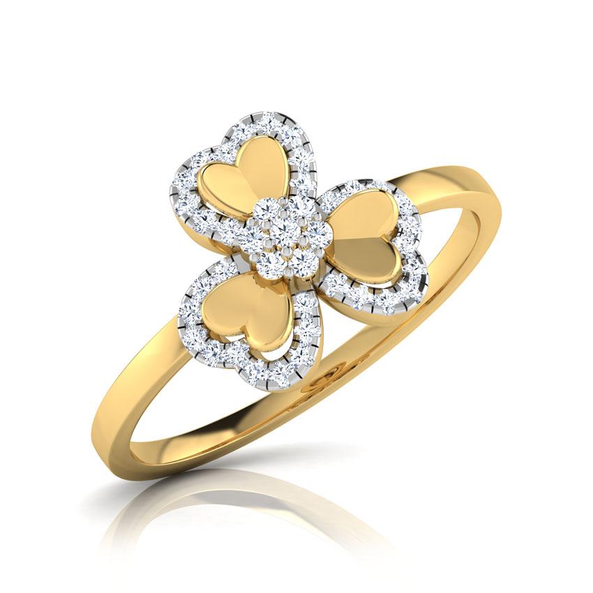 Diamond Rings 18 Karat Yellow Gold Trio Heart Petal Diamond Ring