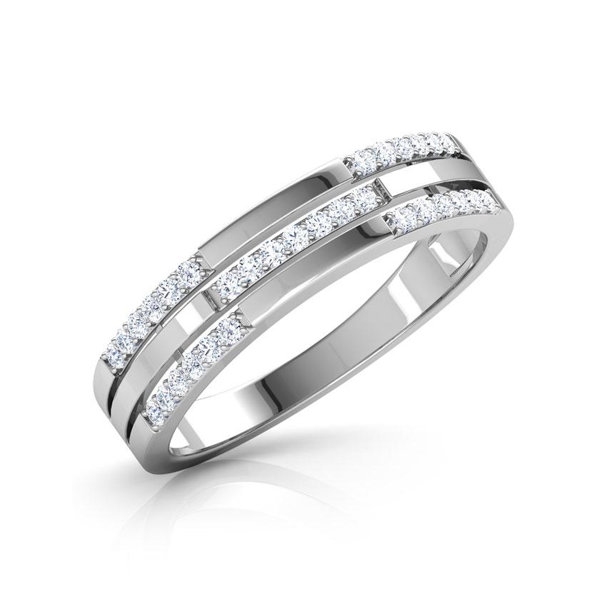 Diamond Rings 18 Karat White Gold Sally 3 Row Diamond Band