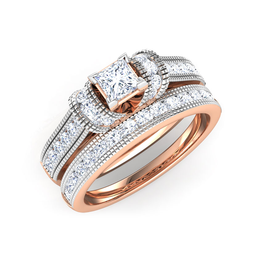 Diamond Rings 18 Karat Rose Gold Eterna Diamond Bridal Ring Set