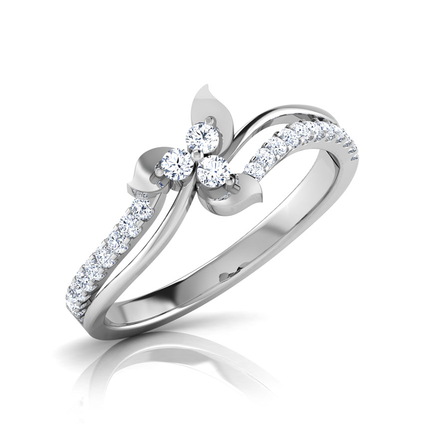Diamond Rings 18 Karat White Gold Betty Two Row Diamond Ring