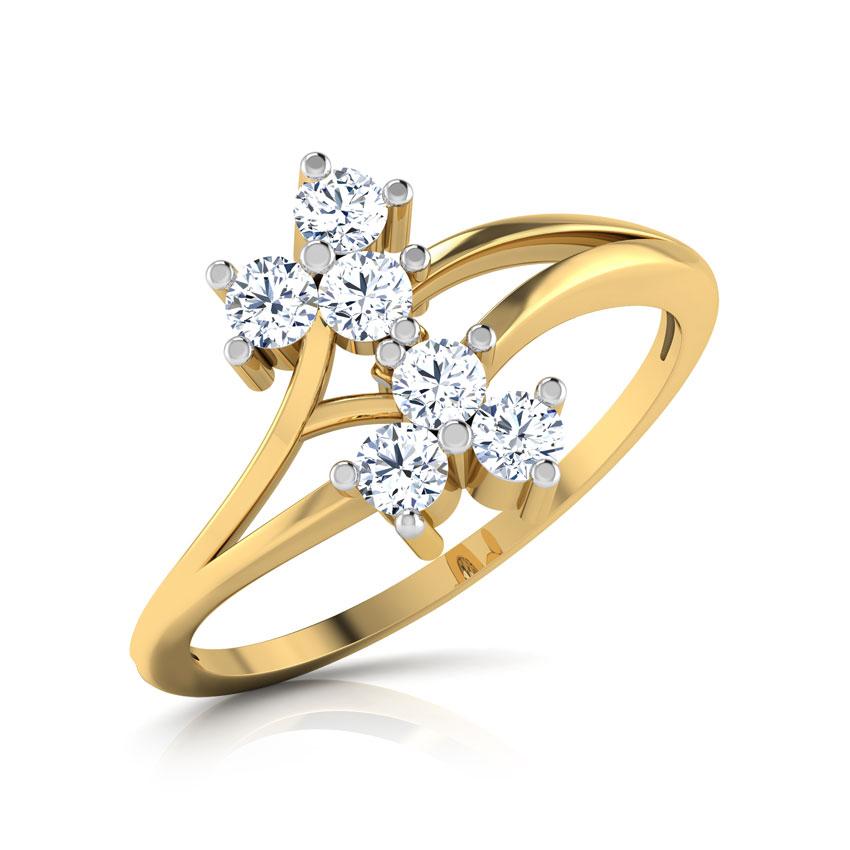 Diamond Rings 18 Karat Yellow Gold Twin Flora Diamond Ring