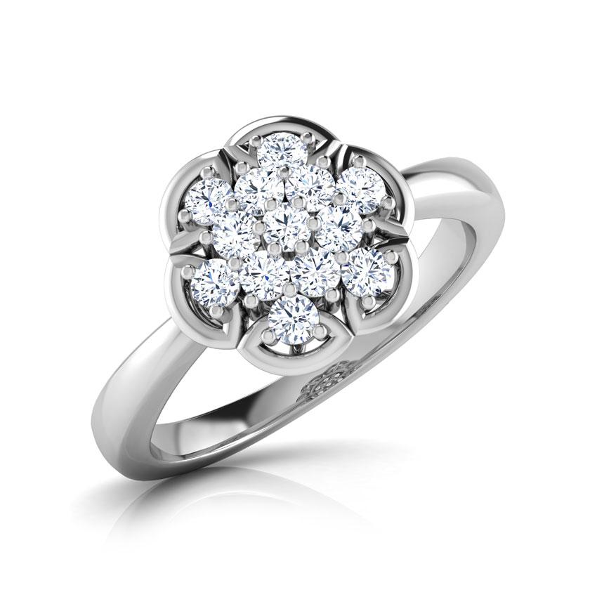 Diamond Rings 18 Karat White Gold Flora Cluster Diamond Ring
