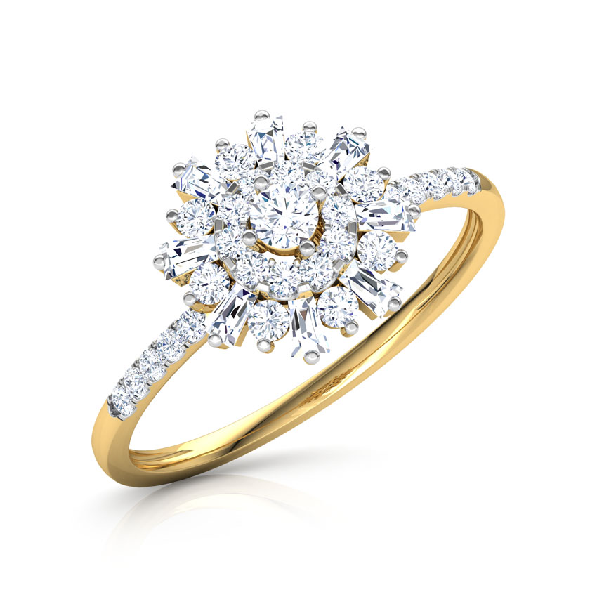 Diamond Rings 14 Karat Yellow Gold Emma Flora Diamond Ring