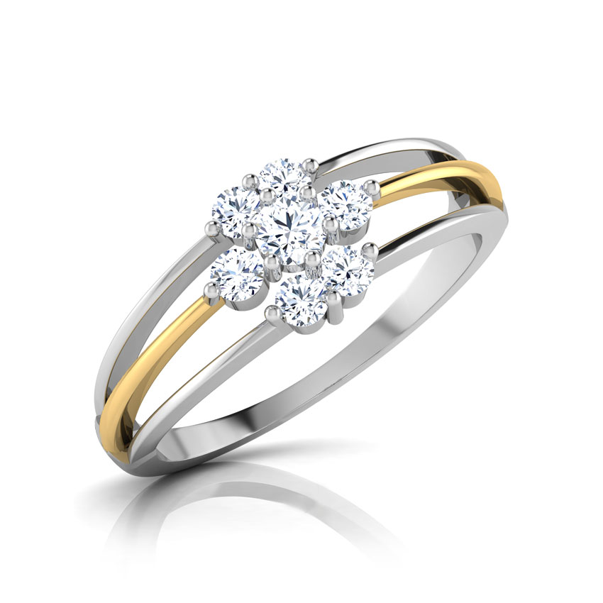 Diamond Rings 14 Karat Two Tone Gold Elsa Diamond Ring