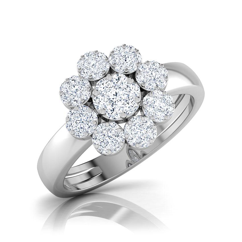 Diamond Rings 18 Karat White Gold Cluster Bloom Diamond Ring