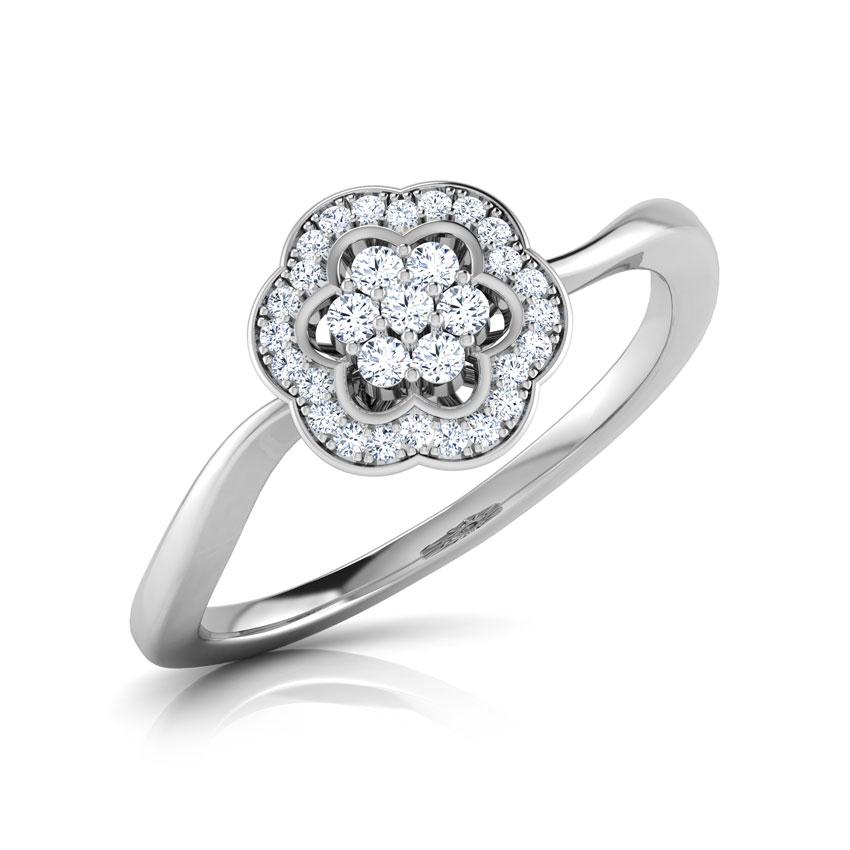 Diamond Rings 18 Karat White Gold Rose Cluster Diamond Ring