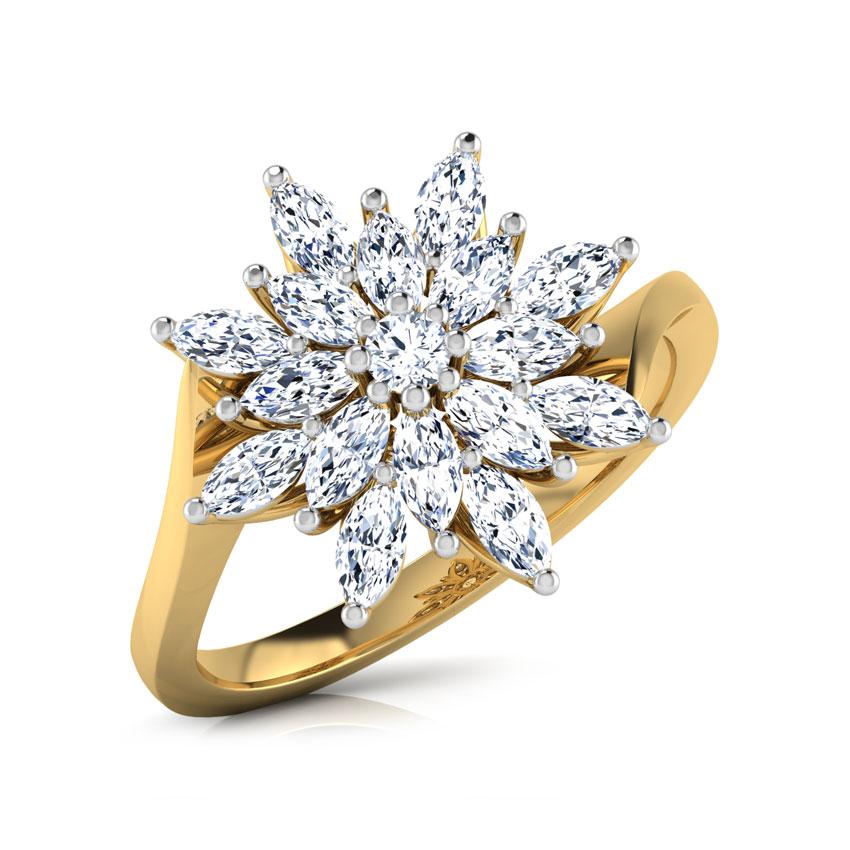 Diamond Rings 18 Karat Yellow Gold Glint Flora Diamond Ring
