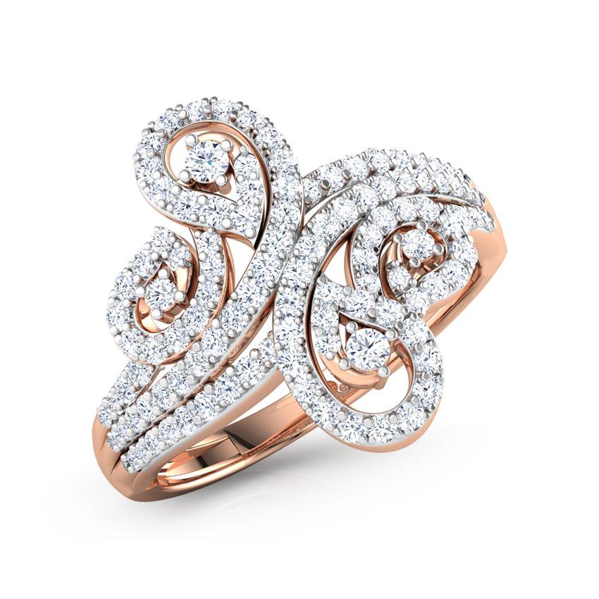Diamond Rings 18 Karat Rose Gold Lisa Twirl Diamond Ring