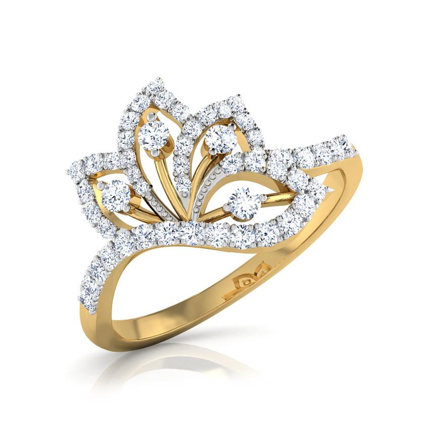 Diamond Rings 18 Karat Yellow Gold Petal Spread Out Diamond Ring