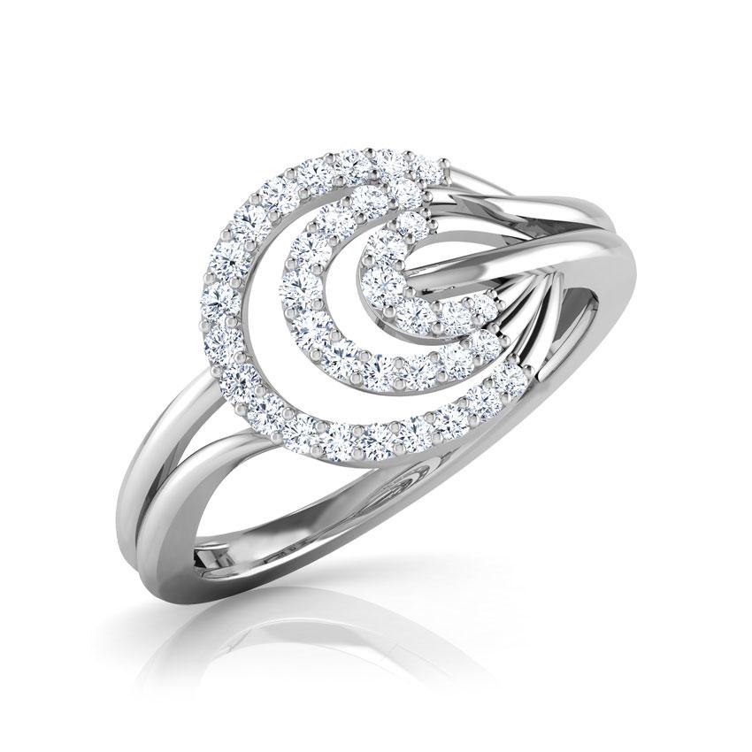 Diamond Rings 18 Karat White Gold Luna Ripple Diamond Ring