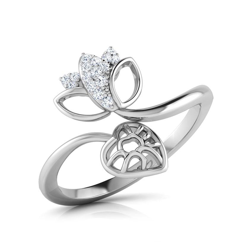 Diamond Rings 14 Karat White Gold Budding Lotus Diamond Ring