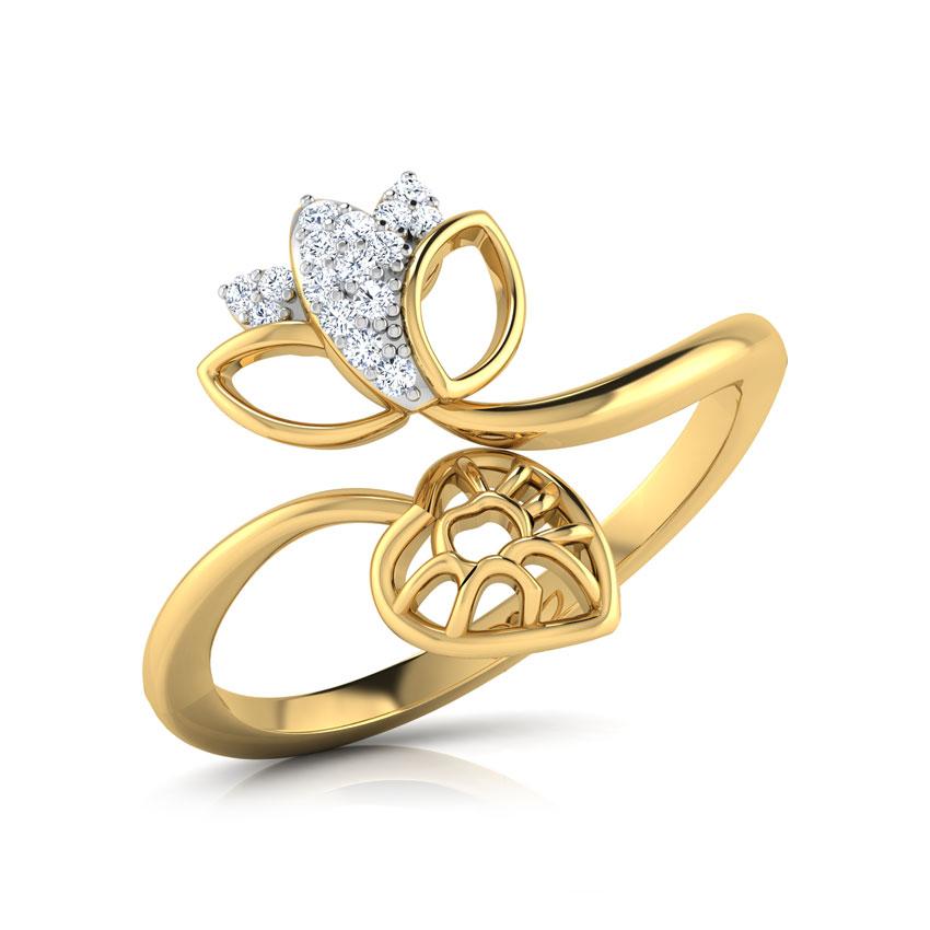 Diamond Rings 18 Karat Yellow Gold Budding Lotus Diamond Ring