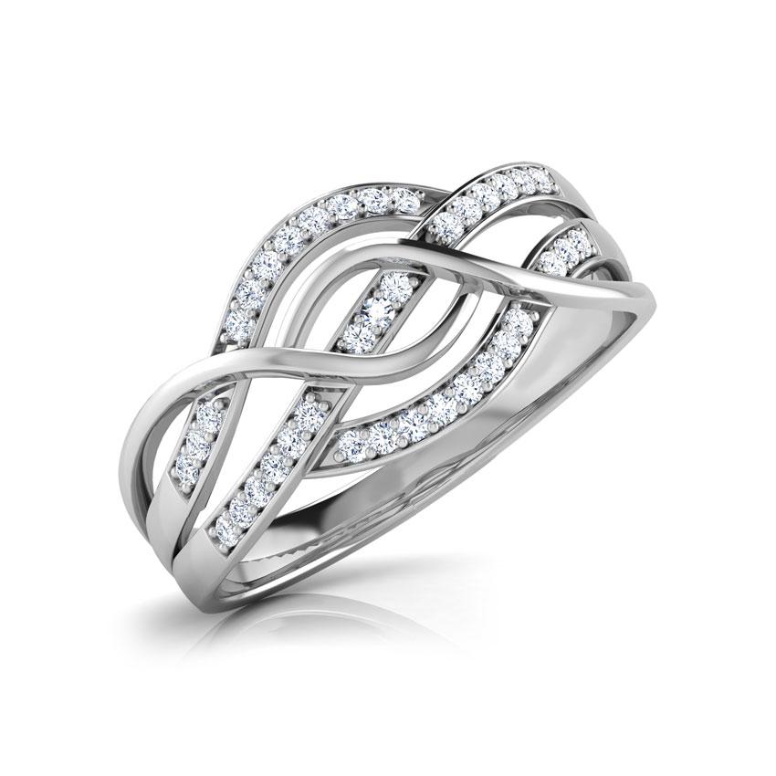 Diamond Rings 18 Karat White Gold Manela Intertwined Diamond Ring