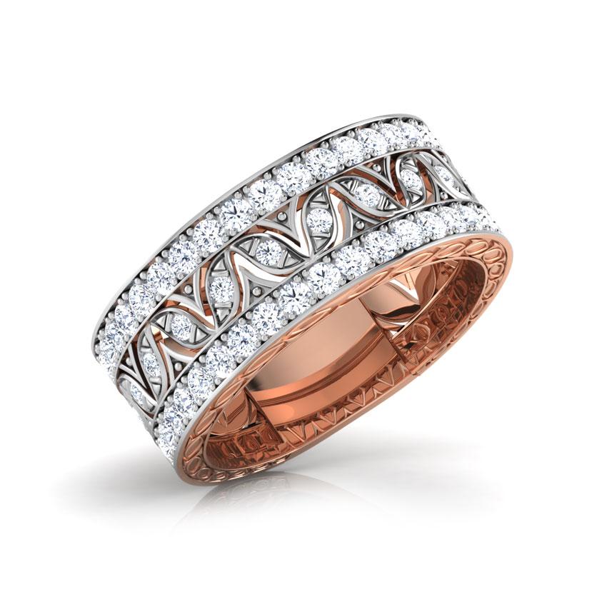 Diamond Rings 18 Karat Rose Gold Gloria Wave Diamond Band