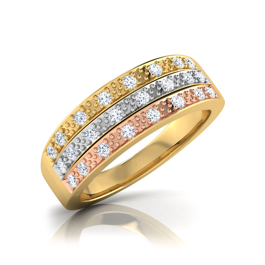 Diamond Rings 18 Karat Yellow Gold Linda 3-Tone Diamond Band