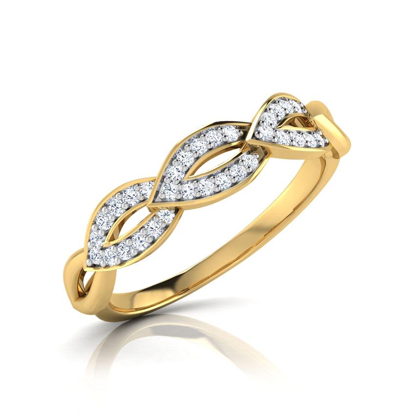 Diamond Rings 14 Karat Yellow Gold Linked Petals Diamond Band