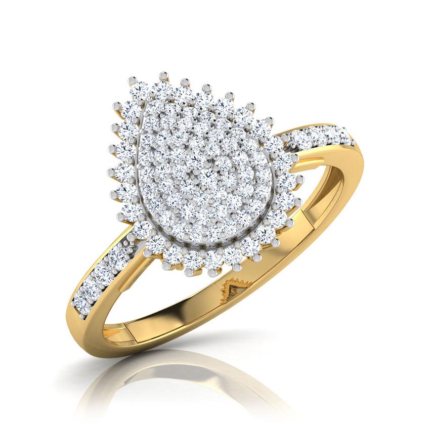 Diamond Rings 14 Karat Yellow Gold Grand Pear Diamond Ring