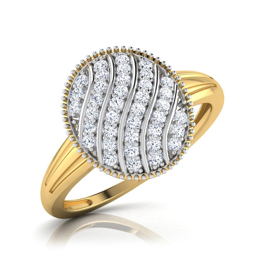 Diamond Rings 18 Karat Yellow Gold Jokia Layered Wavy Diamond Ring