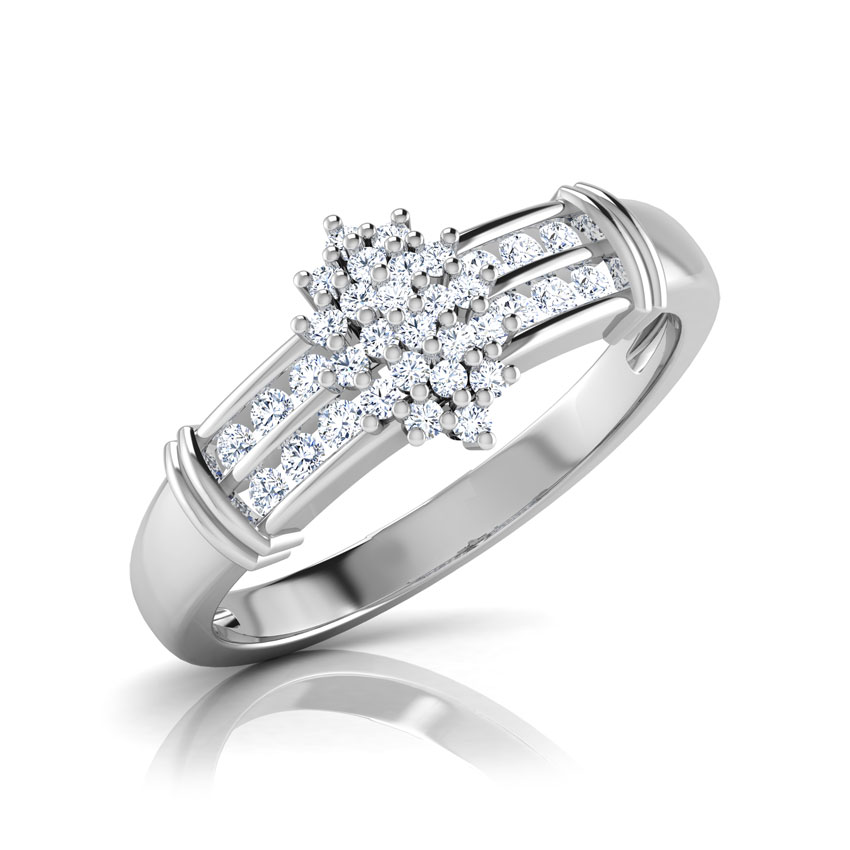 Diamond Rings 18 Karat White Gold Juka Floral Bloom Diamond Ring
