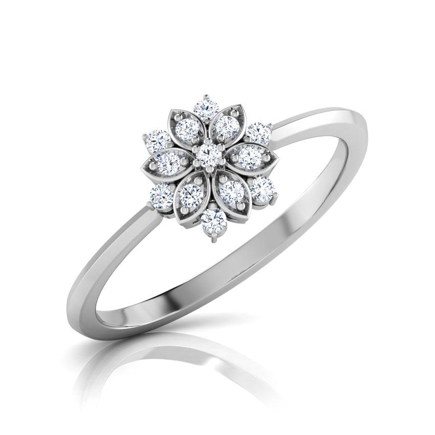 Diamond Rings 14 Karat White Gold Kiki Fiorella Floral Diamond Ring